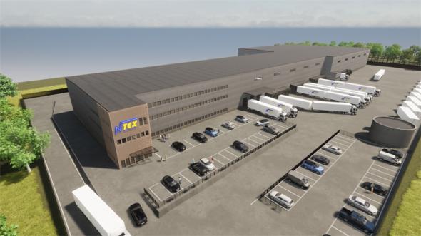 Visionsbild över NTEX logistikbyggnad.