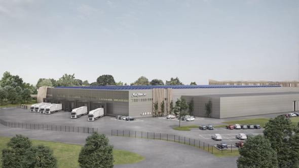 Visionsbild över Mathems logistikanläggning i Larsboda (bilden är en illustration).