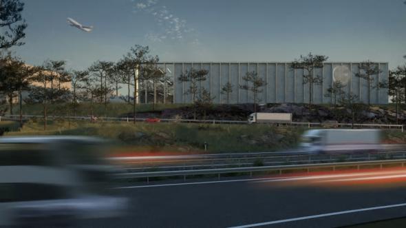 Visionsbild över kommande logistikanläggning vid Göteborg Landvetter Airport (bilden är en illustration).