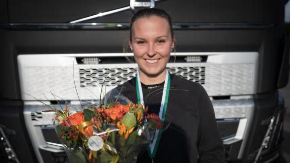 Felicia Bendroth som går sista året på inriktning transport på Malenagymnasiet i Sjöbo vann dagens kvaltävling.
